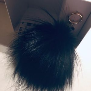 Michael Kors Large Black Fur Pom Pom Bag Charm